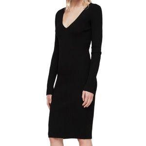 $198 ALL SAINTS Rib Knit Black Dress S NWT